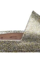 mini melissa mix gold glitter beach slides