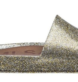 mini melissa mix gold glitter beach slides
