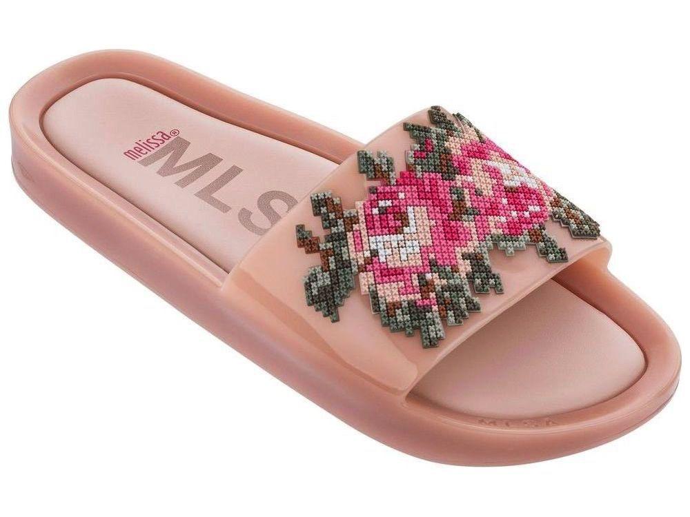 mini melissa pink beach slide flower