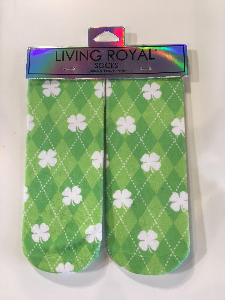 living royal shamrock ankle socks