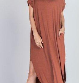 cinnamon stretch jersey maxi dress