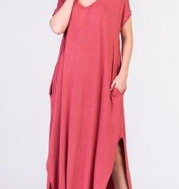 dusty rose stretch jersey maxi dress