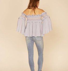 rainbow smock ruffle off shoulder top