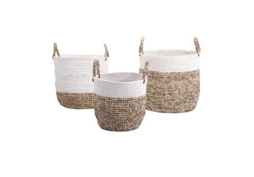 Shoelace and Raffia Woven Basket - Large