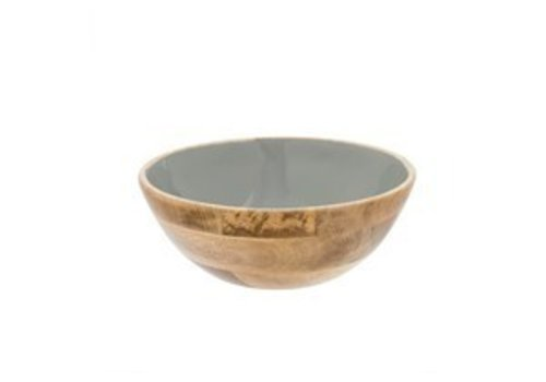 Wood and Enamel Serving Bowl Grey L