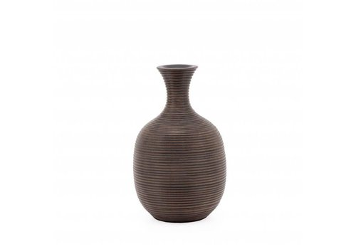 "Colombo Ribbed Resin Tall - 8"" Vase Brown"