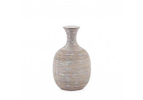 "Colombo Ribbed Resin Tall - 8"" Vase White"