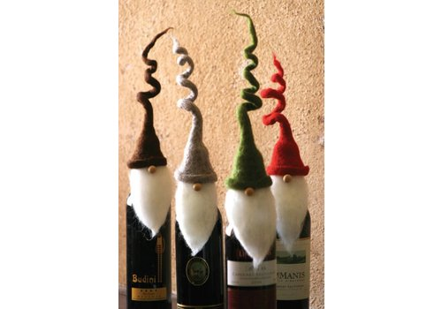 Santa Wine Topper Curly Hat