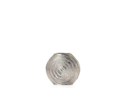 """Embossed Spirals Aluminum 7.5""""h Disc Vase"""