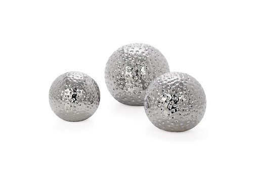Hammered Ceramic Decor Balls, Set of Three