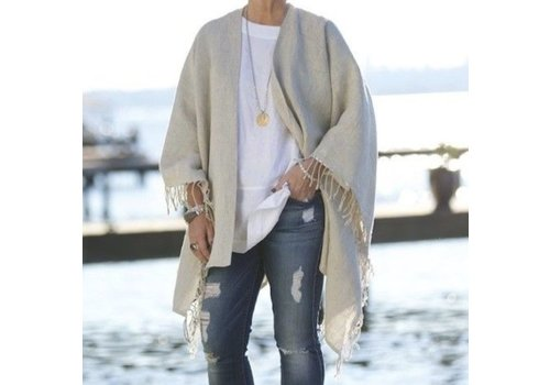 Large Russo Linen Wrap (Natural) - Rectangle Wrap