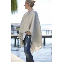 Large Russo Linen Wrap (Natural) - Rectangle Wrap