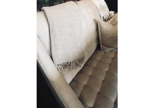 Tumbled Linen Throw With Fringe