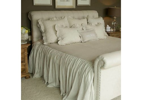 Linen Bedspread with Stripe Ruffle Queen