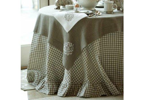 """Checkered Linen 90"""" Tablecloth"""