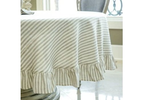 "Stripe Linen 90"" Tablecloth"
