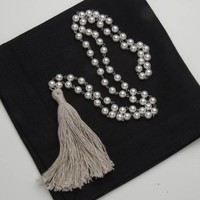 Pearl, Natural Fabric Tassel Necklace