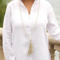 Pearl, Linen Tassel Necklace