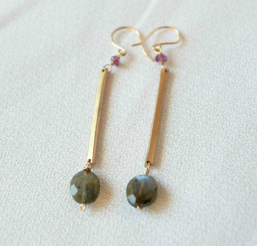 Labradorite Drop Earrings w/ Rhodolite Garnet, Laura J.