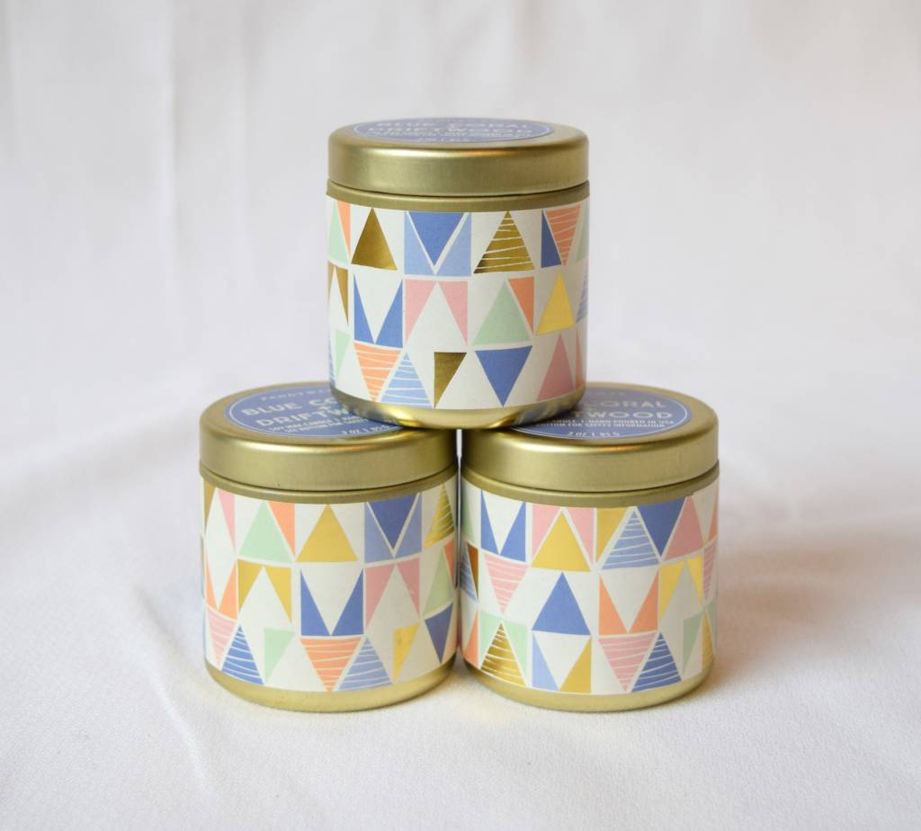 Paddywax. Kaleidoscope Tin, 3 oz, Blue Coral & Driftwood