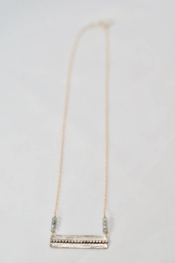 Laura J Mixed Metals & Green Quartz Necklace | Laura J Designs