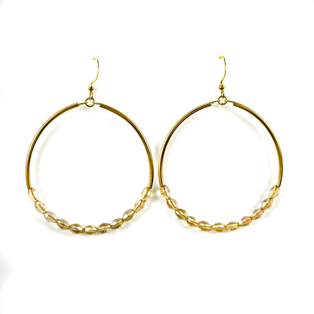 Betsy Pittard Designs Gold Hoop With Beads Earrings