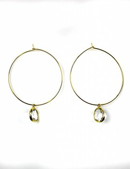 BETSY PITTARD DESIGNS BETSY PITTARD GOLD HOOP W/CRYSTAL PENDANT EARRINGS