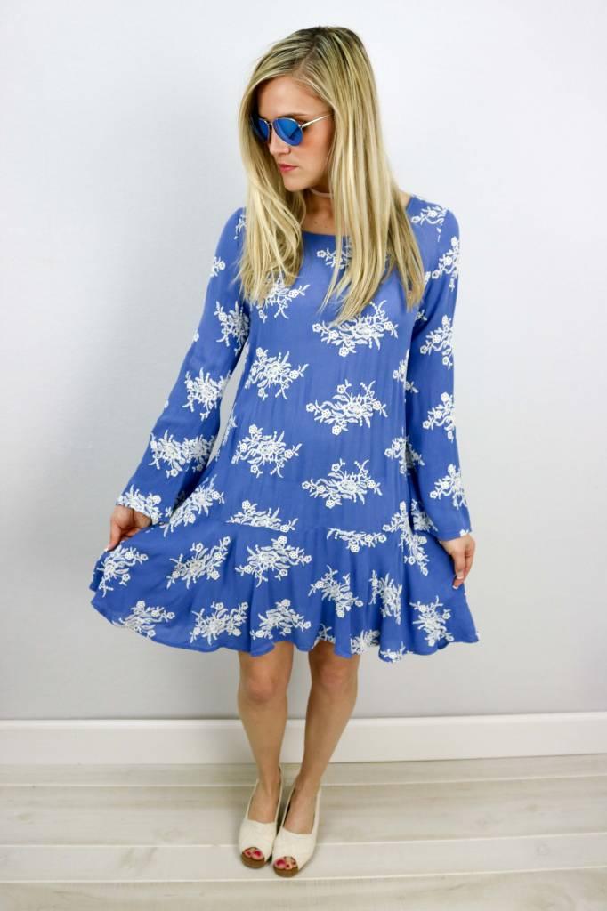 IVY JANE L/S OPEN BACK DROP WAIST DRESS