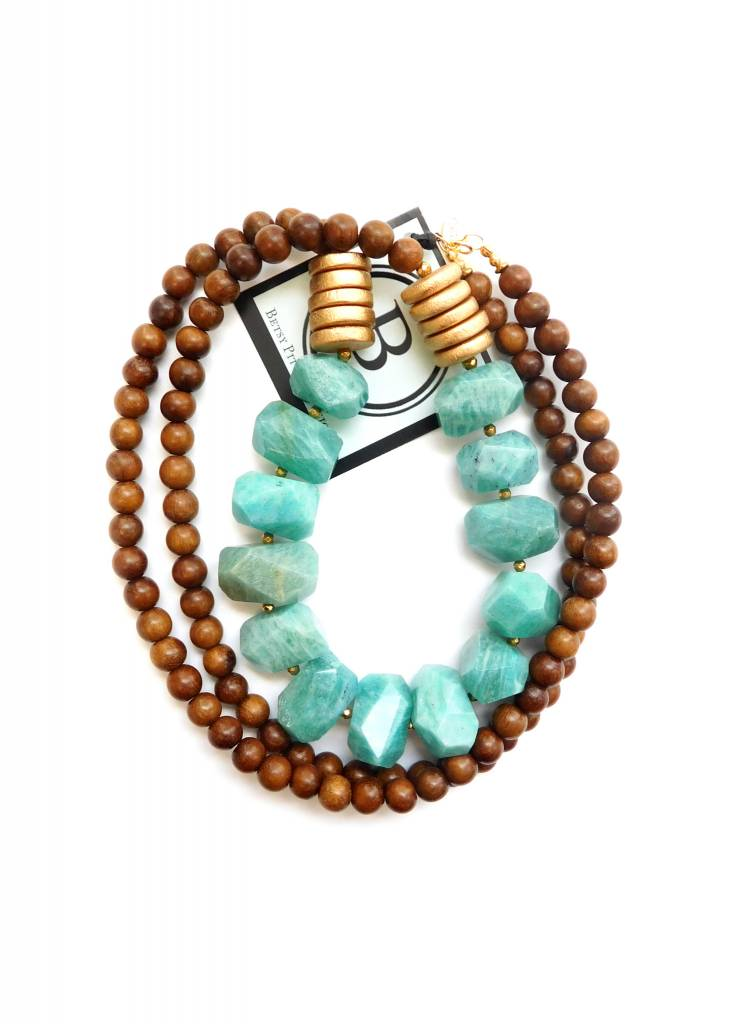 BETSY PITTARD DESIGNS BETSY PITTARD WOOD BEAD NECKLACE W/TURQUOISE ACCENT BEADS