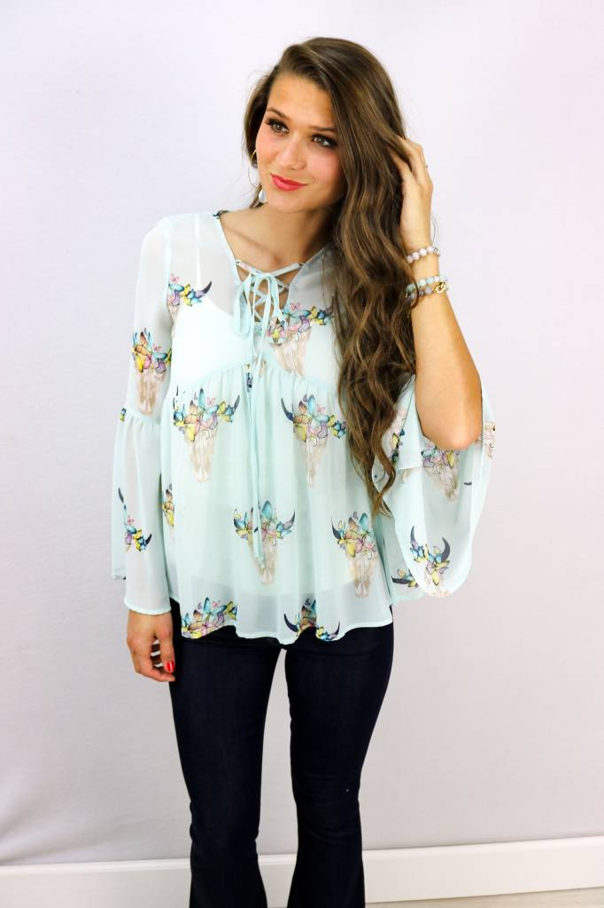 LACE UP EMPIRE WAIST TOP