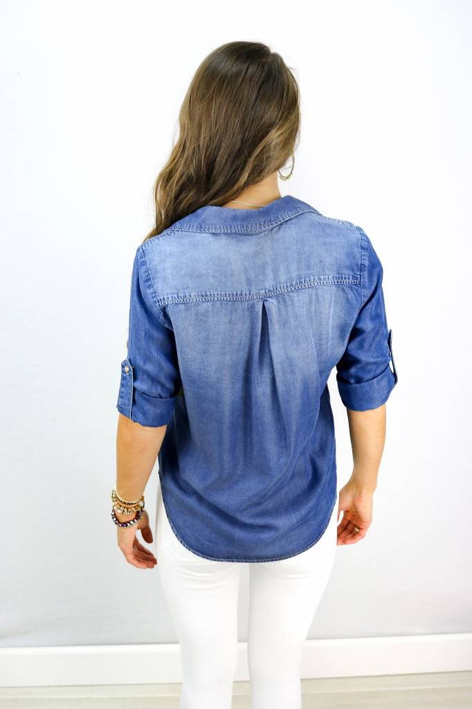 GLAM LONG SLEEVE DARK DENIM BUTTON DOWN TOP