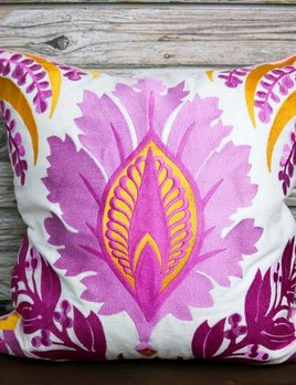 PEKING HANDICRAFT FLORAL EMBROIDERED PILLOW