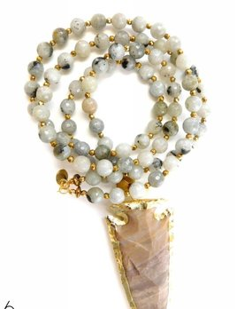 BETSY PITTARD DESIGNS BETSY PITTARD GRAY BEADED NECKLACE W/ARROWHEAD CHARM