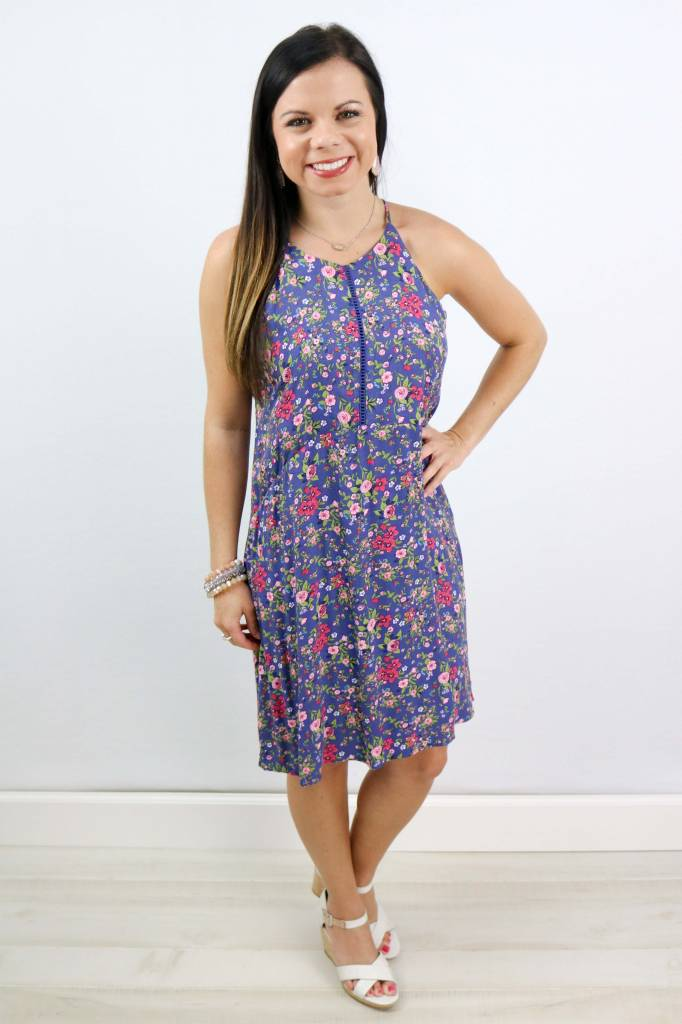 FLORAL HALTER SUNDRESS WITH CUTOUTS
