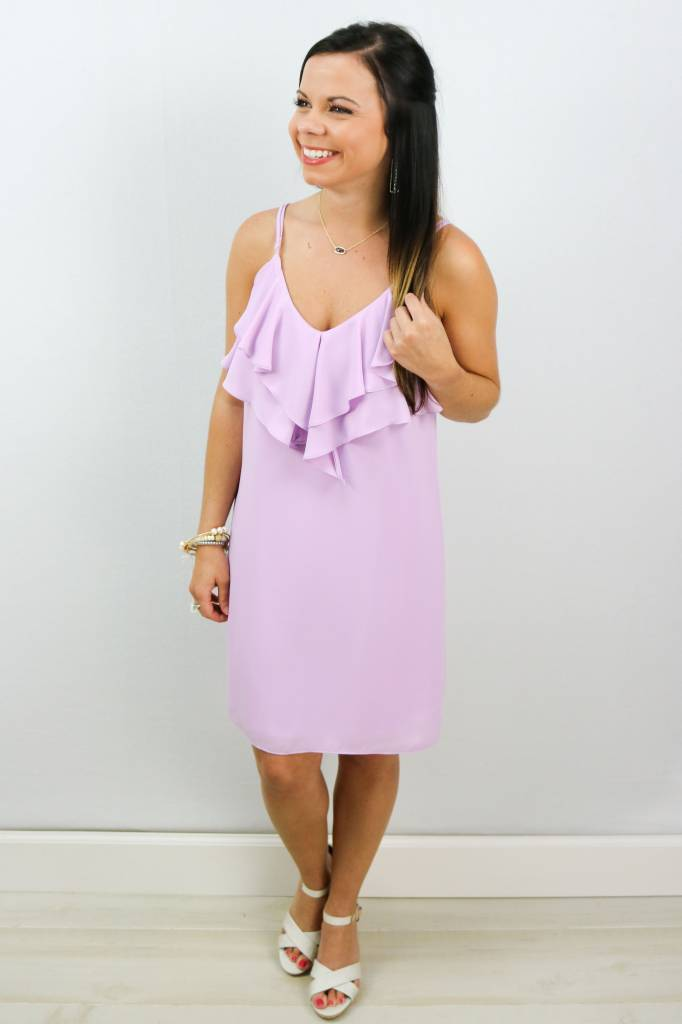 SHIFT DRESS W/ FRONT RUFFLE DETAIL