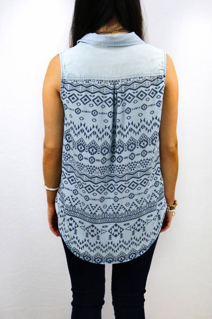 VELVET HEART SLEEVELESS AZTEC BACK TOP