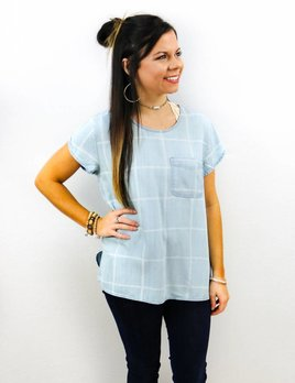 VELVET HEART SHORT SLEEVE DENIM PLAID POCKET TOP