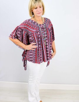 IVY JANE V-NECK TRIBAL PRINT FLOWY TOP