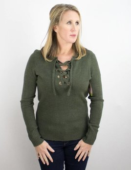 OLIVE & OAK ELAINE LACE UP SWEATER
