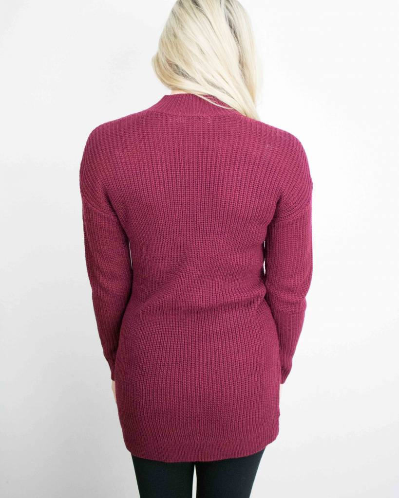 BISHOP + YOUNG CHOKER NECK RIBBED SWEATER DRESS
