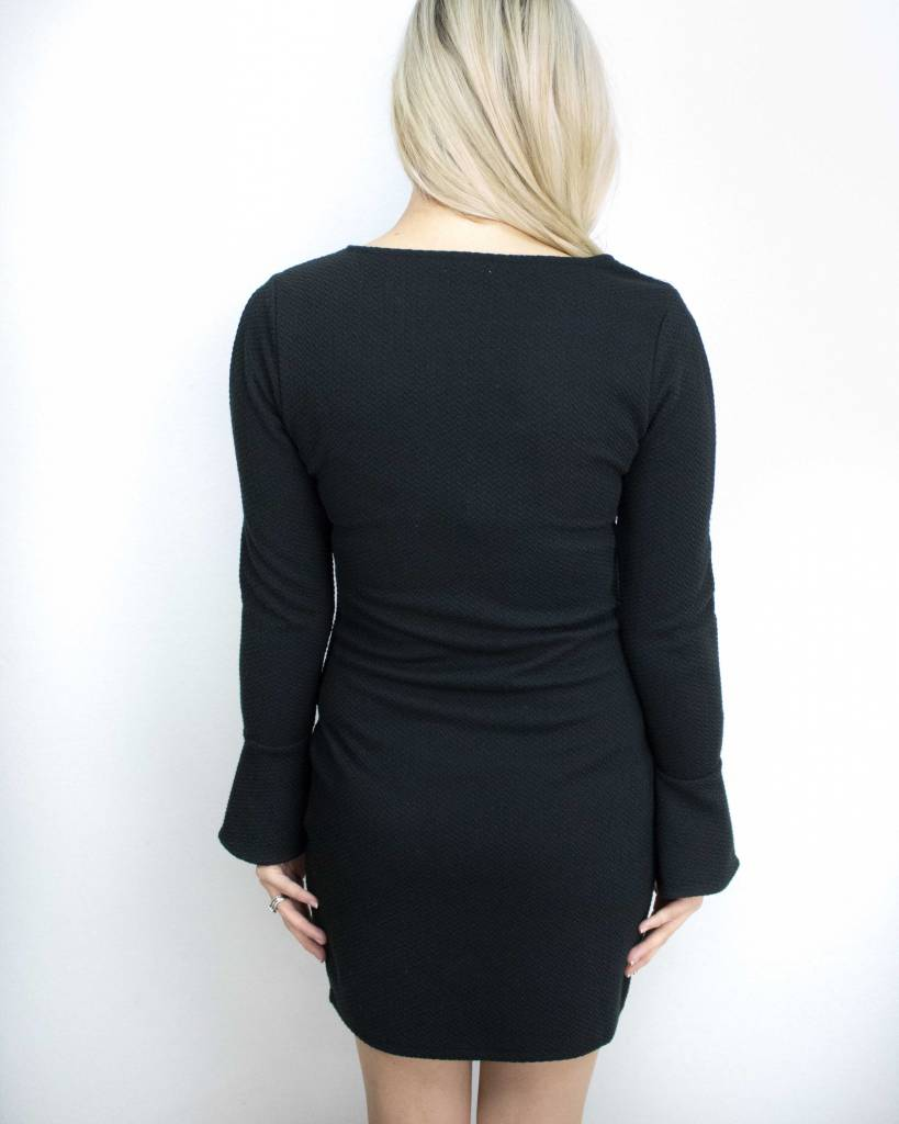 BLACK SWAN SPLIT SLEEVE LITTLE BLACK DRESS