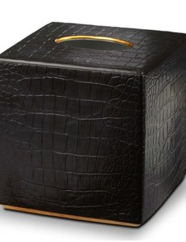 L'Objet L'Objet - Black Crocodile Tissue Holder  Square - Porcelain with 24ct Gold Details - 15x15x15cm