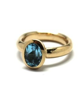 BECKER MINTY Vintage Blue Topaz Ring - 9ct Yellow Gold - Oval Cut (Size N resize available) c1980