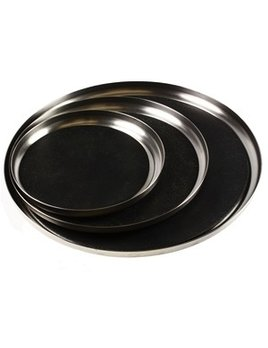 Michael Verheyden Michael Verheyden - 'Serve Stainless Steel' - Large SS Serving Tray with Leather Mat - D40cm