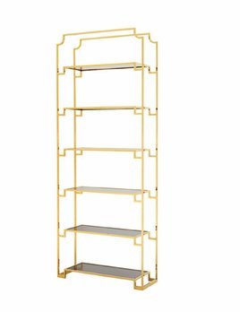 BECKER MINTY Tall Gold Toned Etagere - Shelving Unit - Bookshelf - Smoke Glass Shelves - 90x32xH230cm