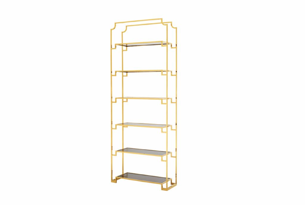 BECKER MINTY Tall Gold Toned Etagere   Shelving Unit   Bookshelf   Smoke Glass  Shelves ...