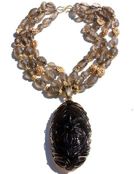 B.M.V.A. Incredible Smokey Quartz Necklace, Circa 1960