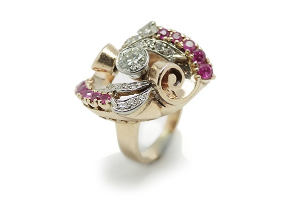 Retro style Diamond and Burmese Ruby Ring - 14ct Rose Gold. Est weight diamonds: 1x 0.63ct, 14 x 0.28ct Rubies 10 x 0.85ct c1940