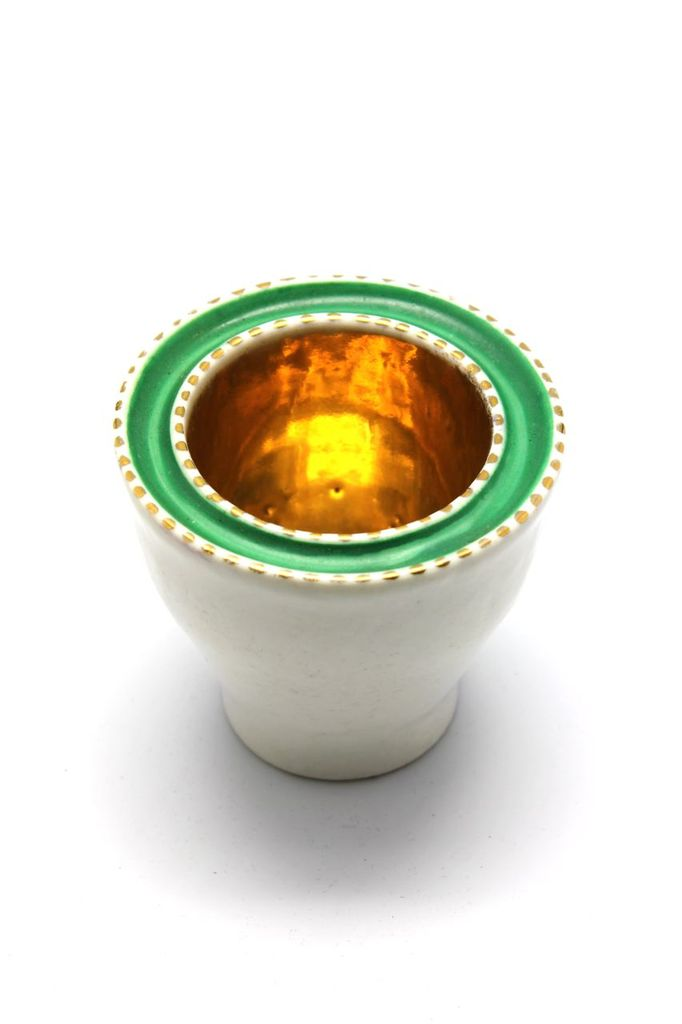 Waylande Gregory Waylande Gregory Bowl - Small Green, Cream and Gold Original Waylande Gregory Decorative Bowl - USA c1960