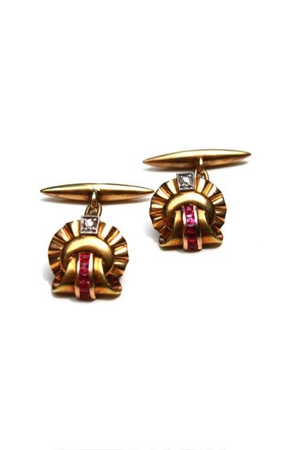 Gold and ruby cufflinks - pair of retro 18ct yellow gold shell shaped cufflinks - old cut diamond bead set in platinum on gold below a line of five channel set square cut rubies - 2 diamonds total 0.08ct, 10 rubies  total .40ct - handmade mounts c1940